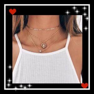 Jewelry - Dainty 3 layer Boho Gold cross choker necklace